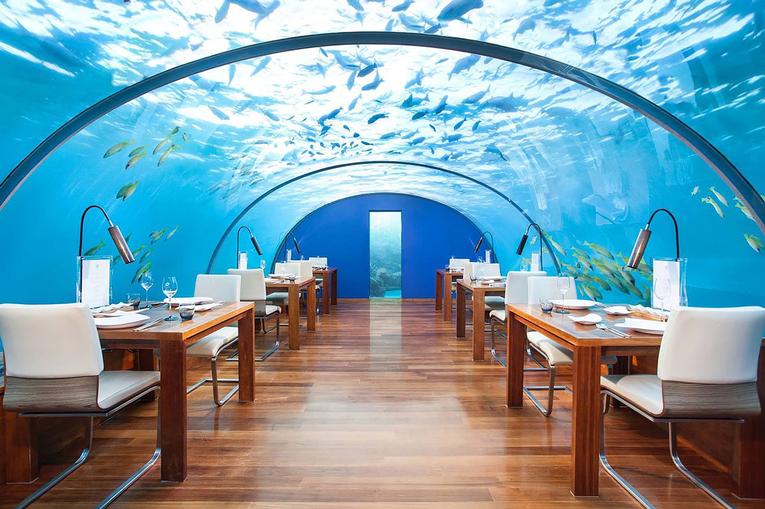Underwater restaurant in the Maldives