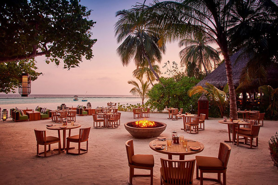 Beach restaurant in the Maldives
