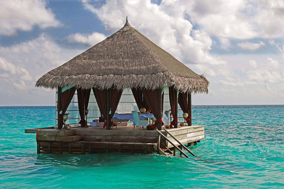 Floating restaurant in the ocean