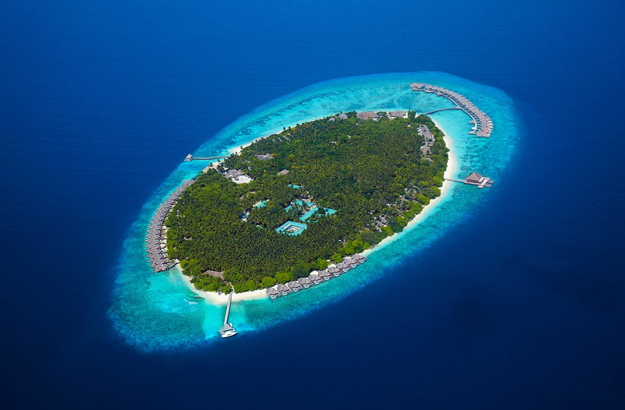 Island surrounded by white sandy beaches