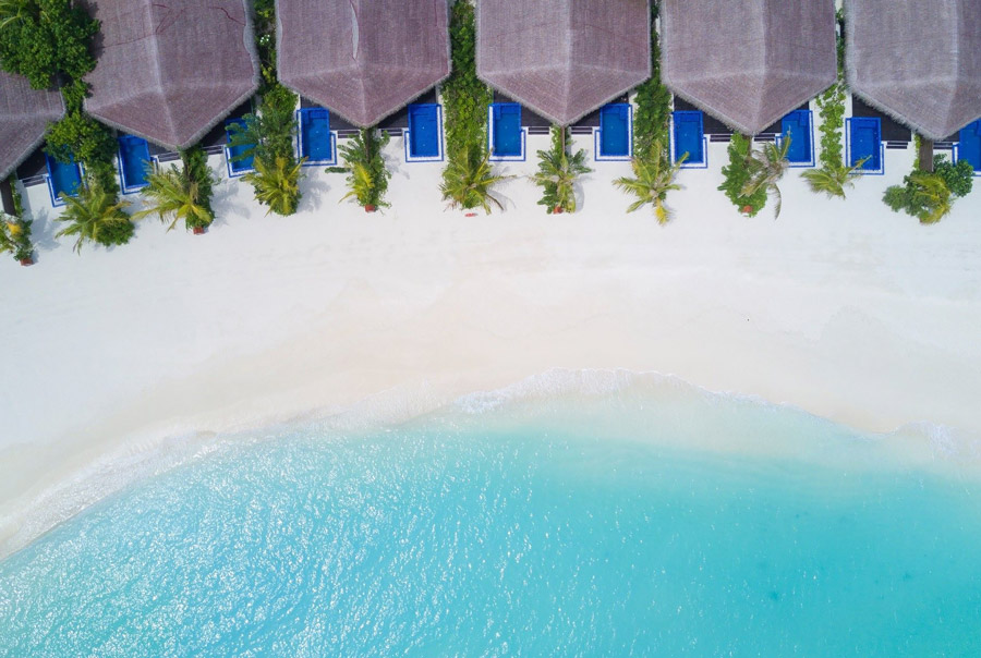 Beach villas with swimming pools