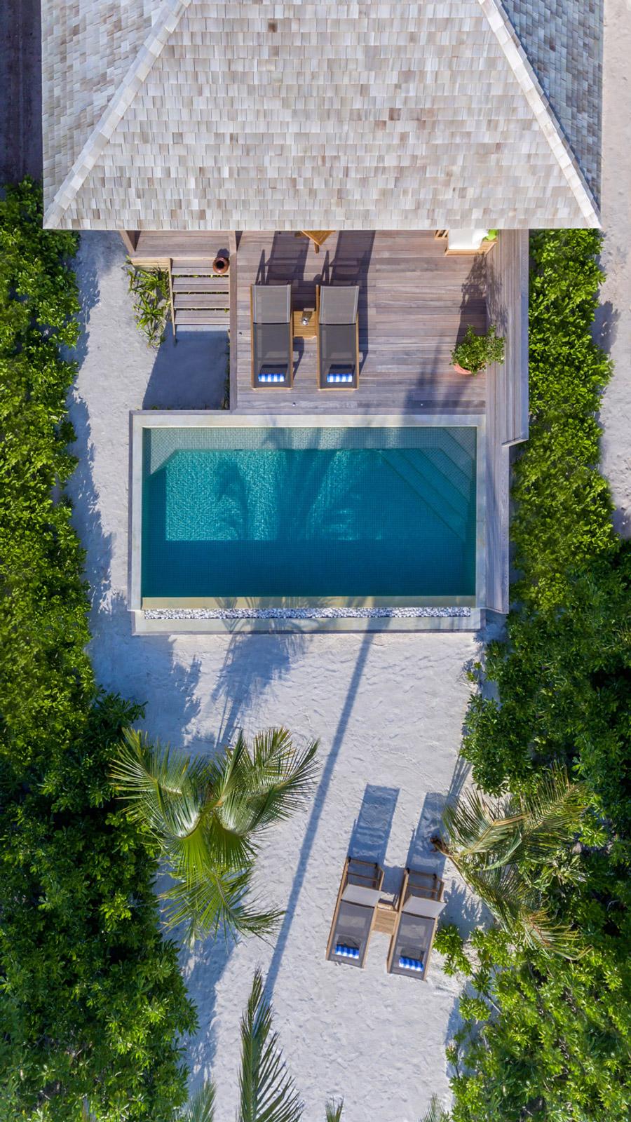 Aerial view of a beach house