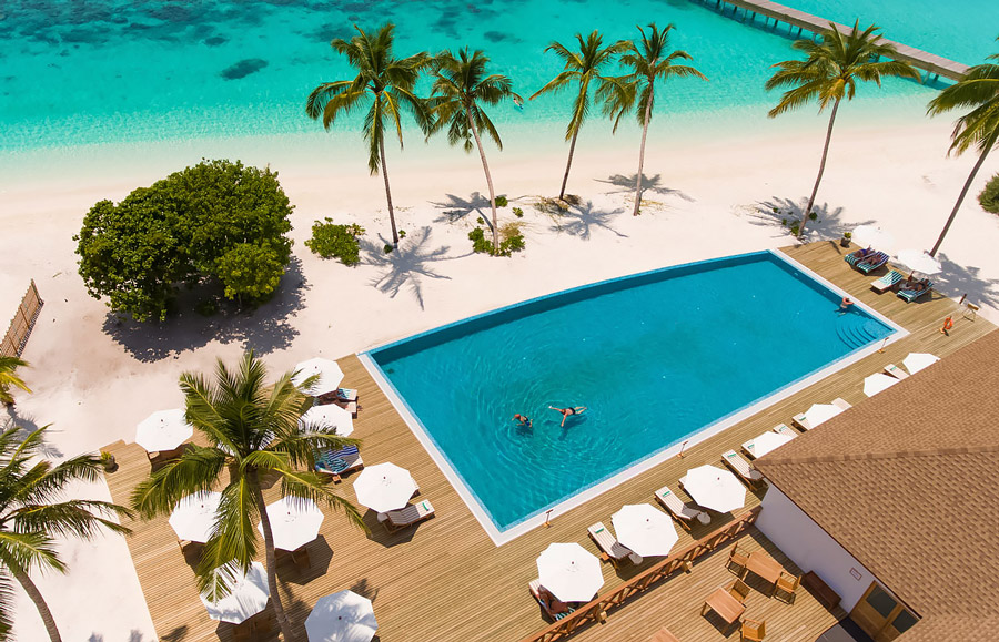 Large swimming pool on the beach