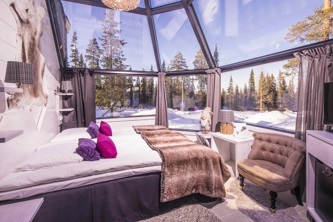 Glass igloo bedroom