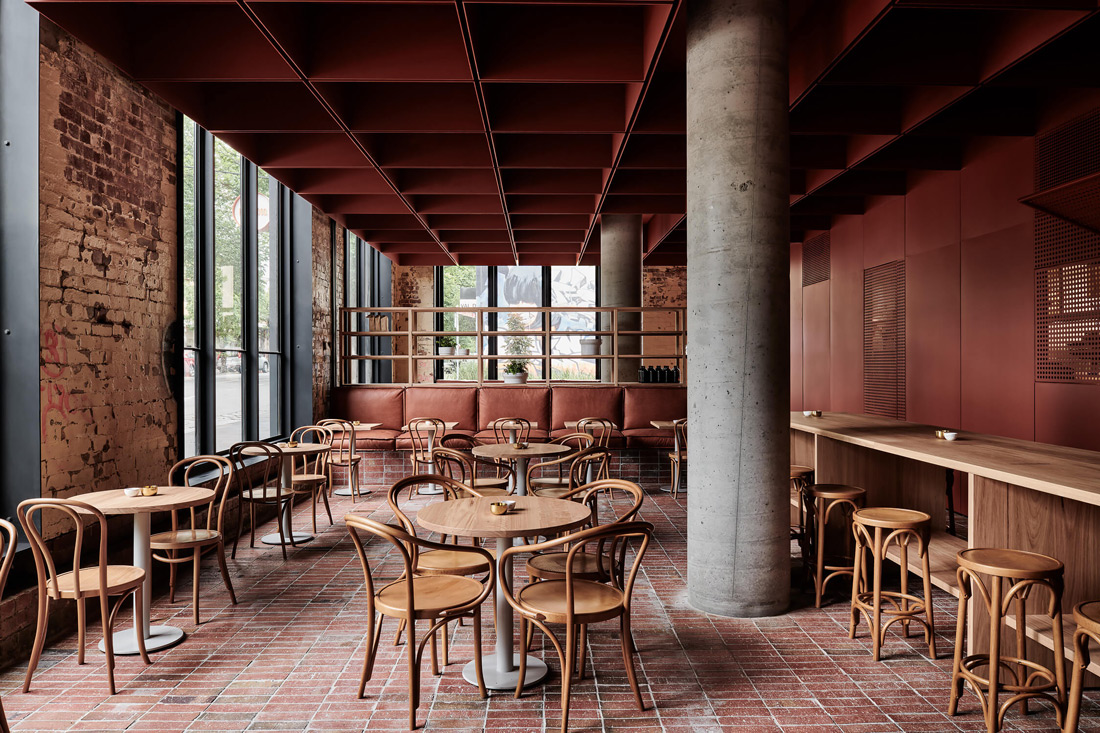 Cafe with red-hued interiors