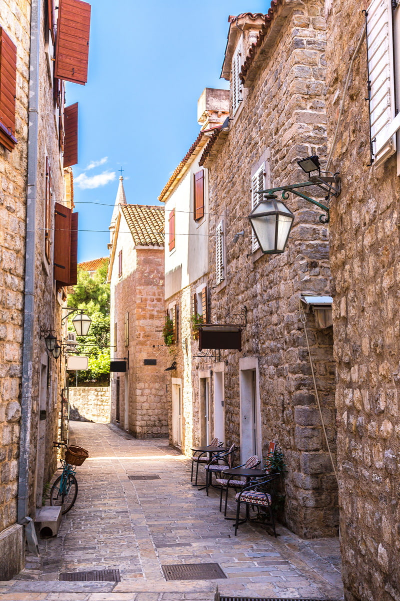 Narrow street in Budva Old Town