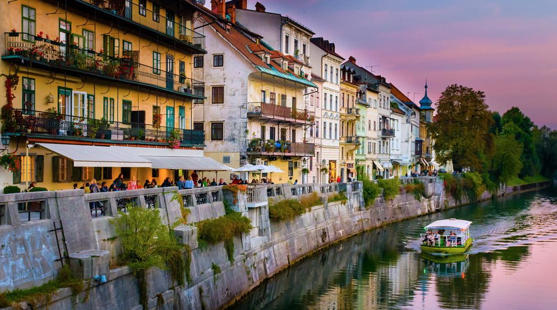Riverfront terraces in Ljubljana