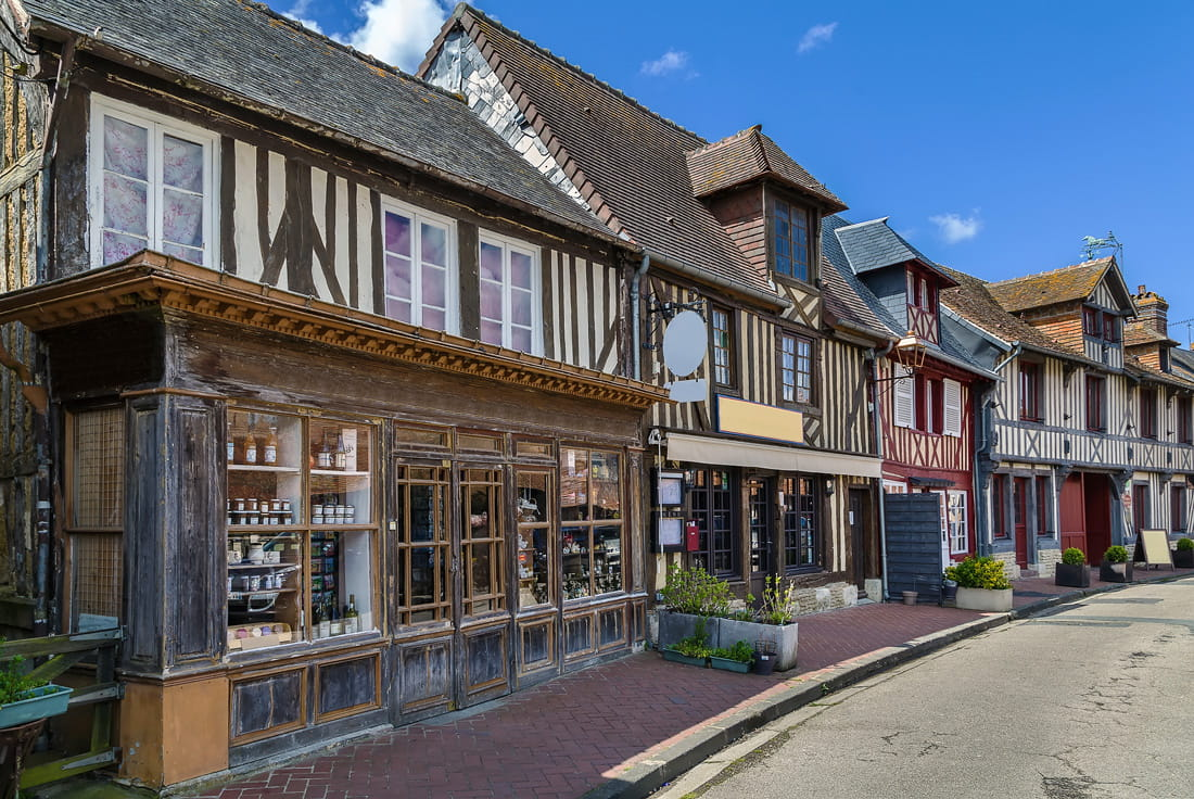Archetypal striped houses in France