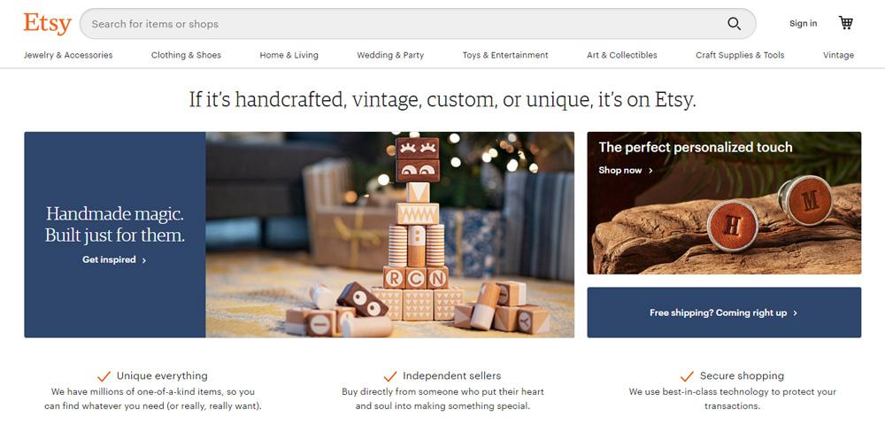 Etsy shopping site