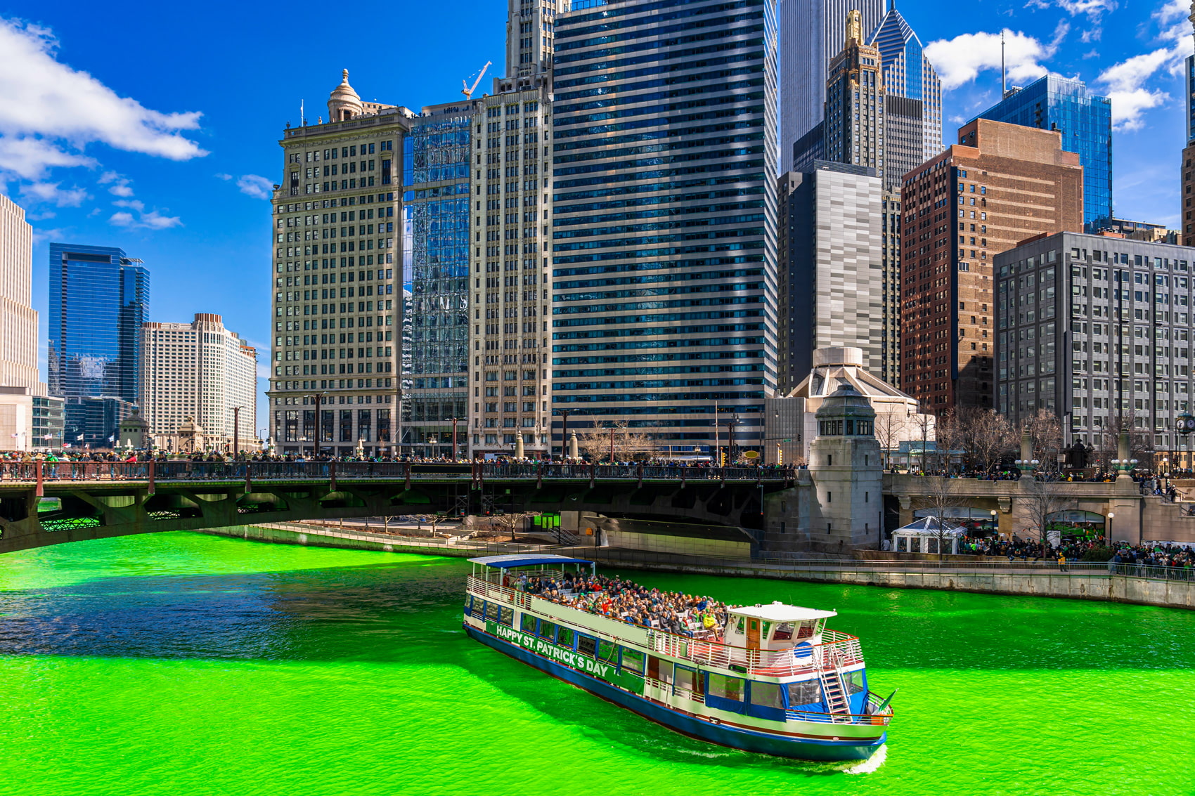 Chicago River green for St. Patrick's Day