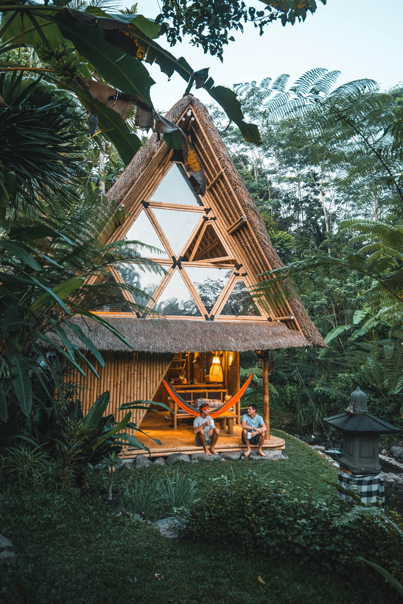 A-frame bamboo cabin in the jungle