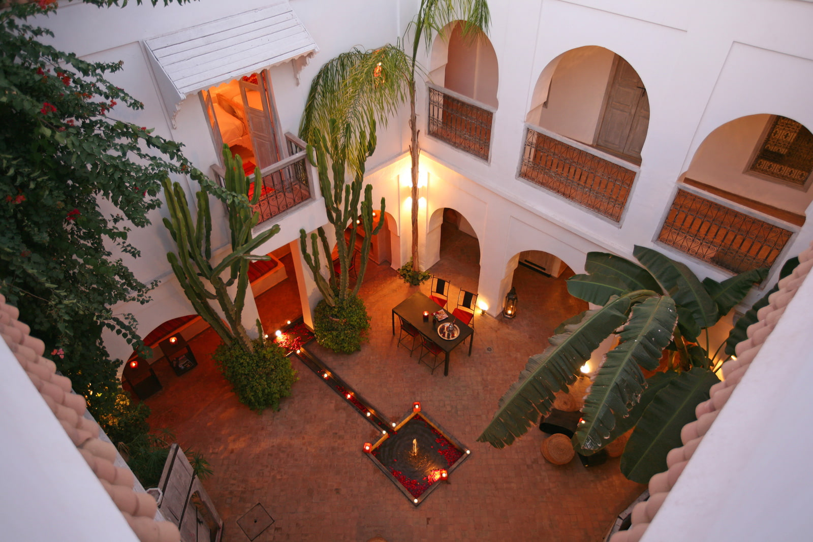 Moroccan courtyard with plants
