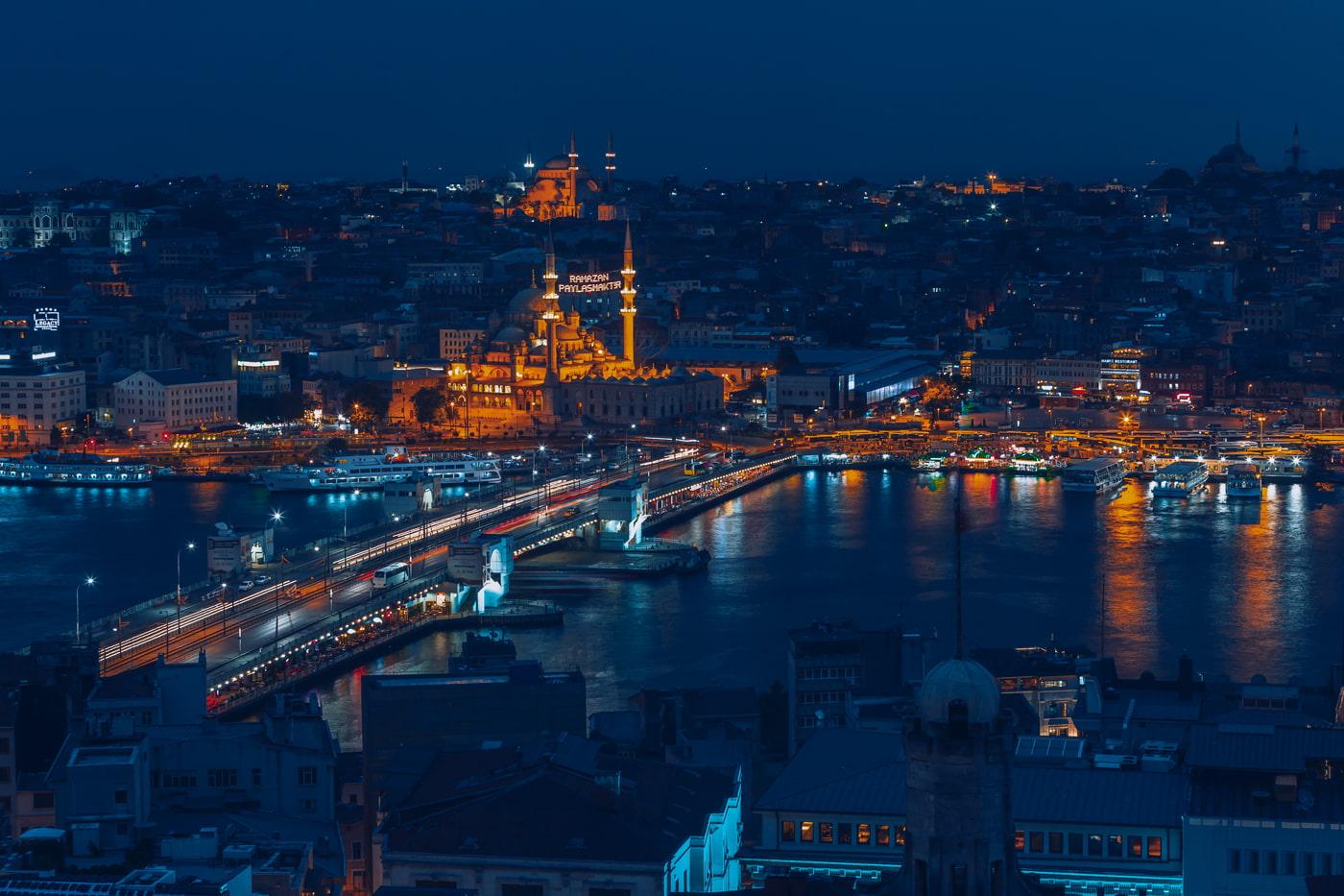 Galata Bridge at night