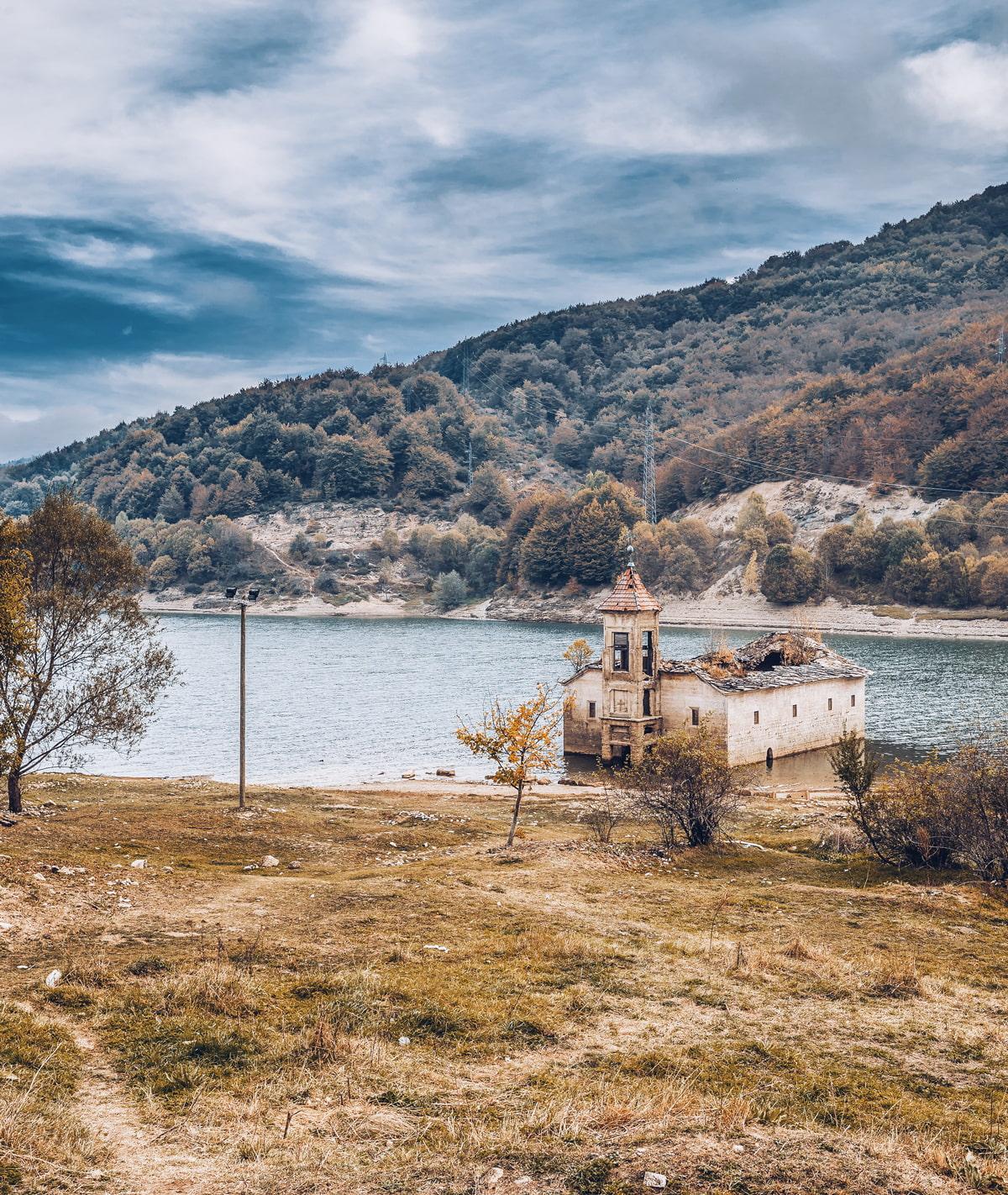 Sunken church on Mavrovo Lake
