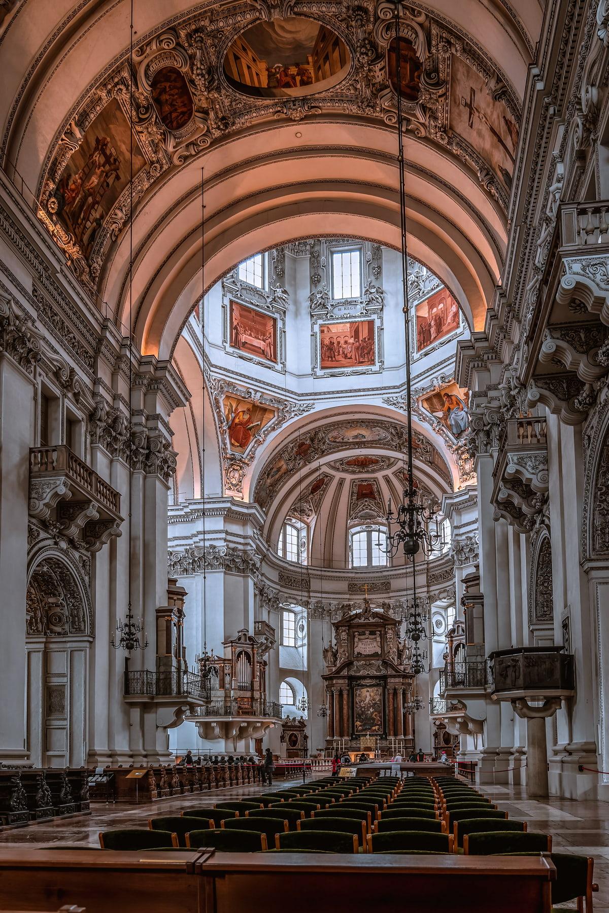 White marble interior inside Salzburg Cathedral