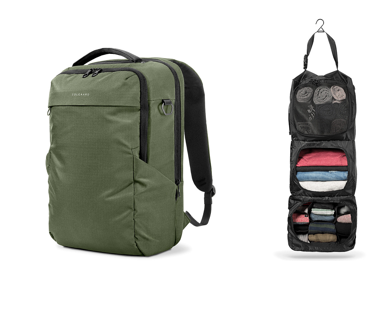 Travel backpack with closet