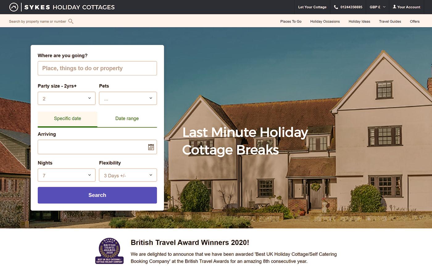 Cottage rentals site