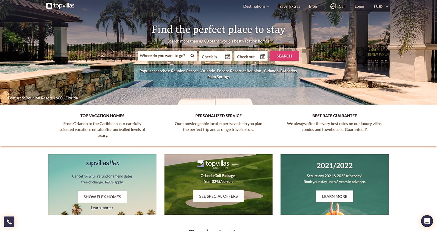 Private luxury vacation homes