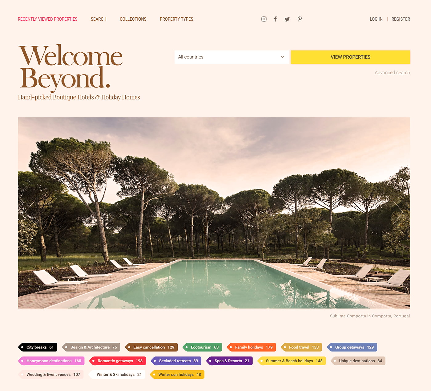 Rental site for well-designed holiday homes