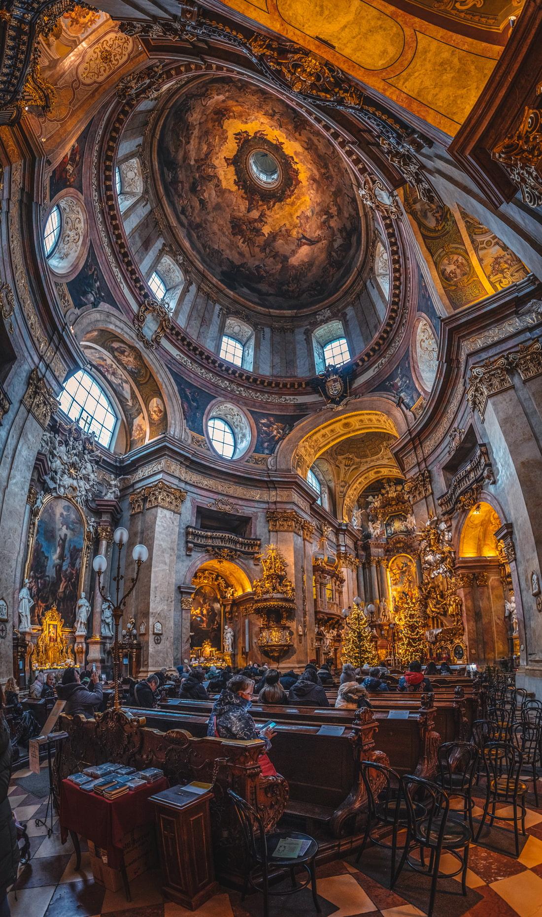 Baroque art inside this church in Vienna